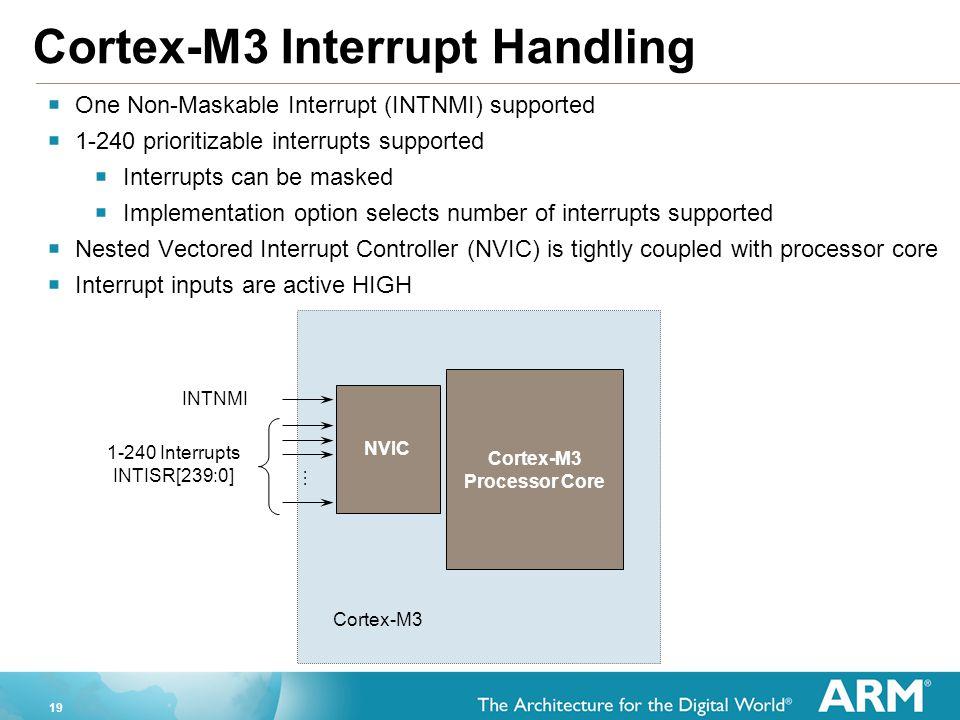 19 Cortex-M3 Interrupt Handling  One Non-Maskable Interrupt (INTNMI) supported  1-240 prioritizable interrupts supported  Interrupts can be masked