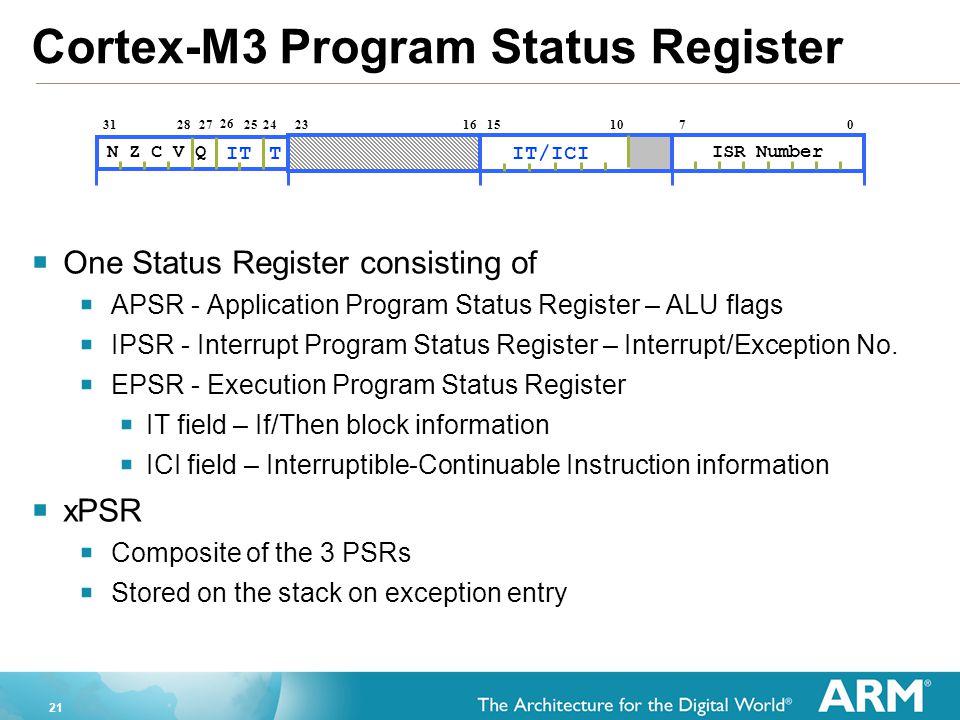 21 Cortex-M3 Program Status Register  One Status Register consisting of  APSR - Application Program Status Register – ALU flags  IPSR - Interrupt P