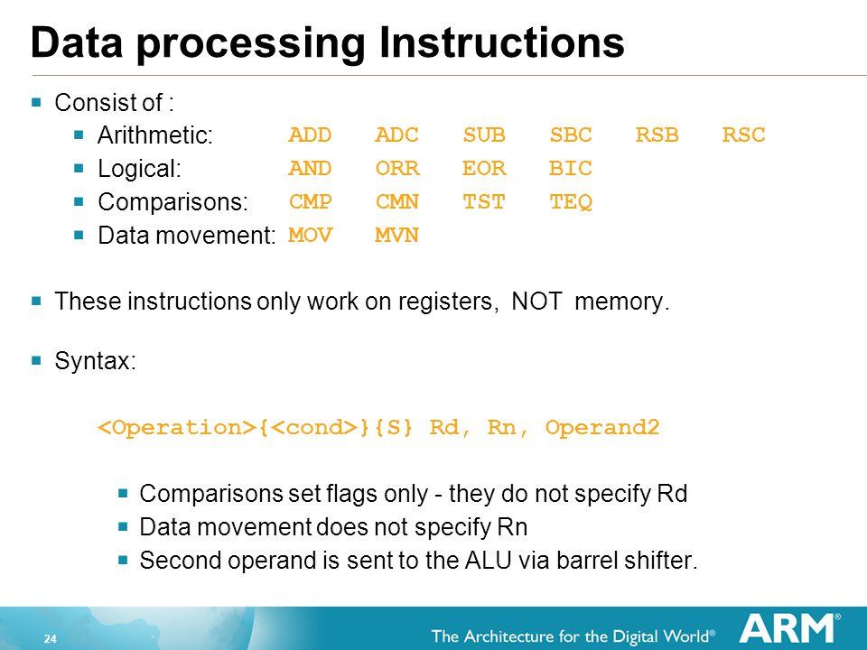 24 Data processing Instructions  Consist of :  Arithmetic: ADDADCSUBSBCRSBRSC  Logical: ANDORREORBIC  Comparisons: CMPCMNTSTTEQ  Data movement: M
