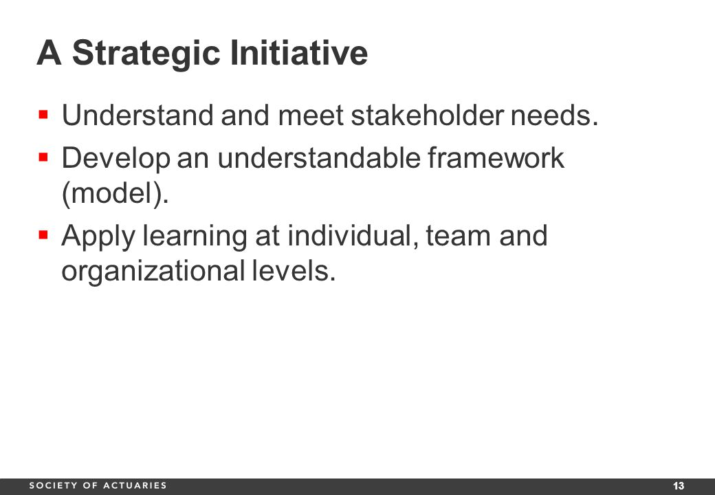 13 A Strategic Initiative  Understand and meet stakeholder needs.
