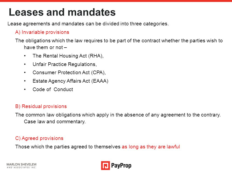 Leases and mandates Lease agreements and mandates can be divided into three categories.