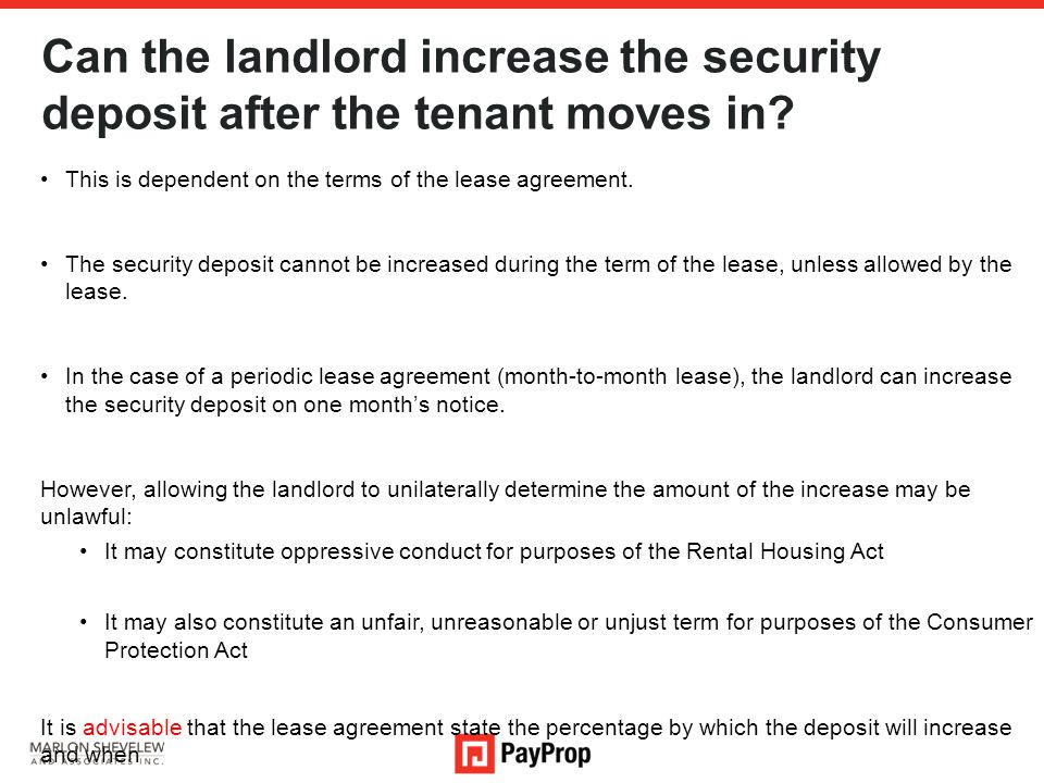 Can the landlord increase the security deposit after the tenant moves in.
