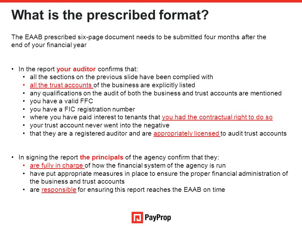What is the prescribed format.