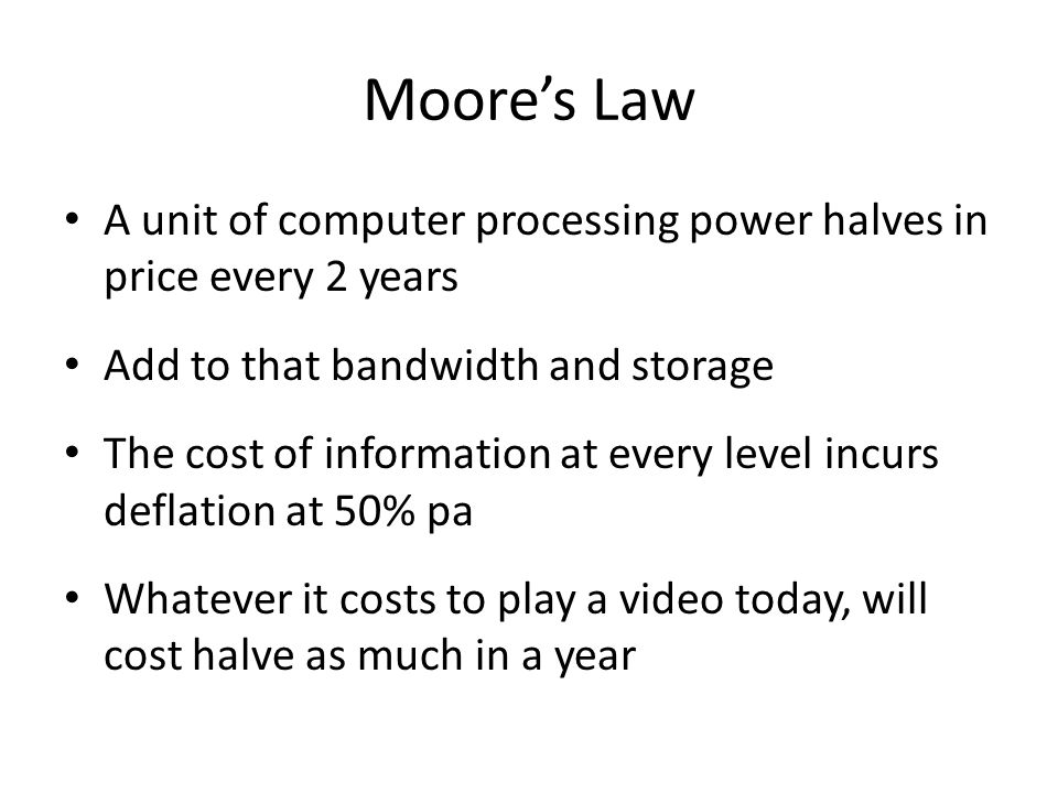 Moore's Law is only one example Exponential Growth of Computing for 110 Years Moore's Law was the fifth, not the first, paradigm to bring exponential growth in computing