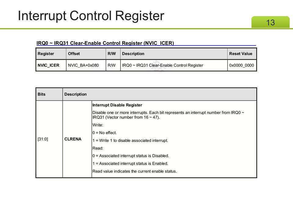 Interrupt Control Register 13