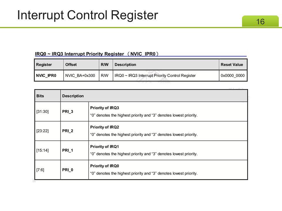 Interrupt Control Register 16
