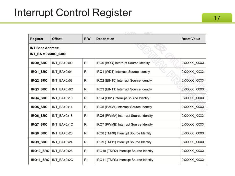 Interrupt Control Register 17