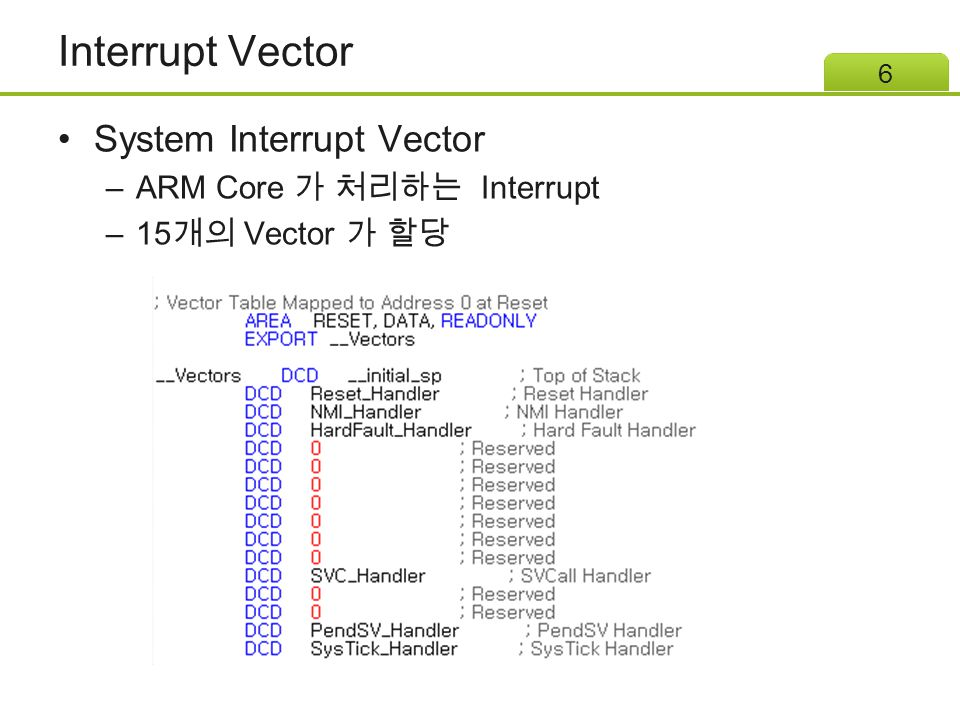 Interrupt Vector External Interrupt Vector – 코어 외부의 Interrupt Controller(NVIC) Vector –32 개의 Vector 가 할당 7