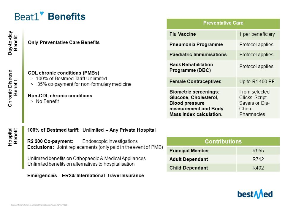 Benefits Hospital Benefit Chronic Disease Benefit Day-to-day Benefit Preventative Care Flu Vaccine1 per beneficiary Pneumonia ProgrammeProtocol applies Paediatric ImmunisationsProtocol applies Back Rehabilitation Programme (DBC) Protocol applies Female Contraceptives Up to R1 400 PF Biometric screenings: Glucose, Cholesterol, Blood pressure measurement and Body Mass Index calculation.