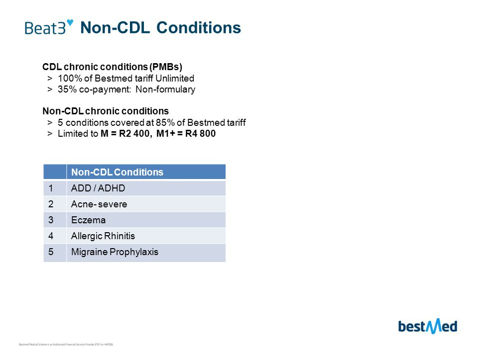Non-CDL Conditions CDL chronic conditions (PMBs) > 100% of Bestmed tariff Unlimited > 35% co-payment: Non-formulary Non-CDL chronic conditions > 5 conditions covered at 85% of Bestmed tariff > Limited to M = R2 400, M1+ = R4 800 Non-CDL Conditions 1ADD / ADHD 2Acne- severe 3Eczema 4Allergic Rhinitis 5Migraine Prophylaxis