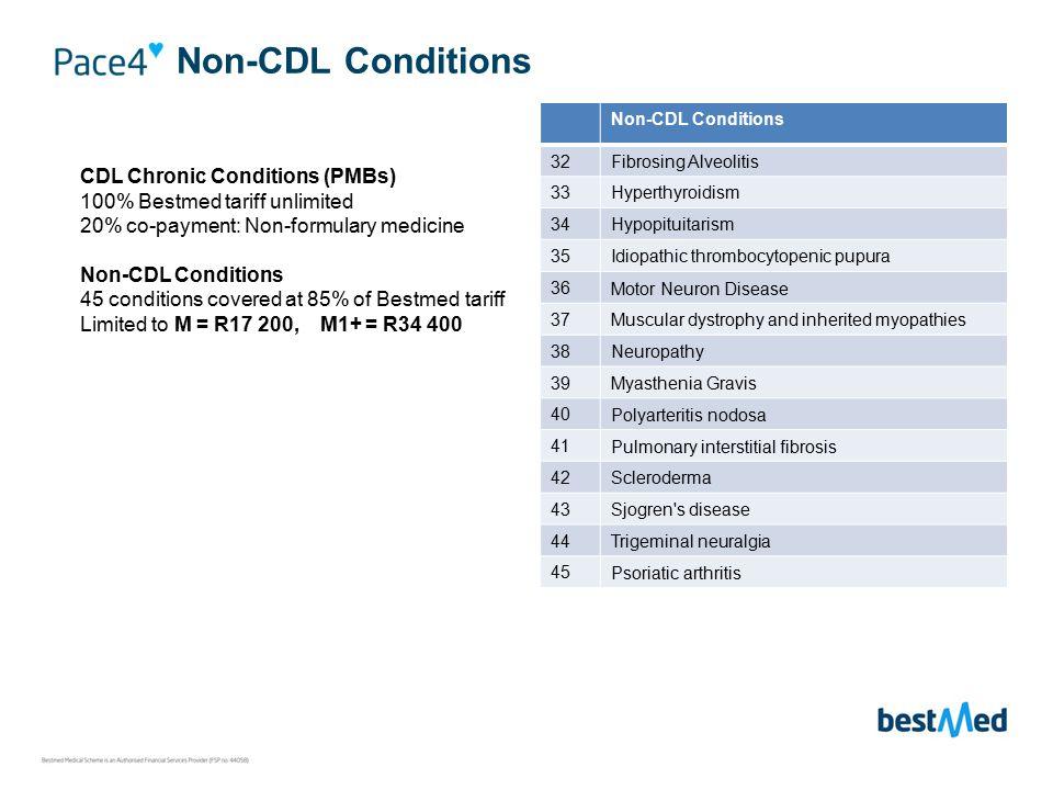 Non-CDL Conditions CDL Chronic Conditions (PMBs) 100% Bestmed tariff unlimited 20% co-payment: Non-formulary medicine Non-CDL Conditions 45 conditions covered at 85% of Bestmed tariff Limited to M = R17 200, M1+ = R34 400 Non-CDL Conditions 32Fibrosing Alveolitis 33Hyperthyroidism 34Hypopituitarism 35Idiopathic thrombocytopenic pupura 36 Motor Neuron Disease 37 Muscular dystrophy and inherited myopathies 38 Neuropathy 39 Myasthenia Gravis 40 Polyarteritis nodosa 41 Pulmonary interstitial fibrosis 42 Scleroderma 43 Sjogren s disease 44 Trigeminal neuralgia 45 Psoriatic arthritis