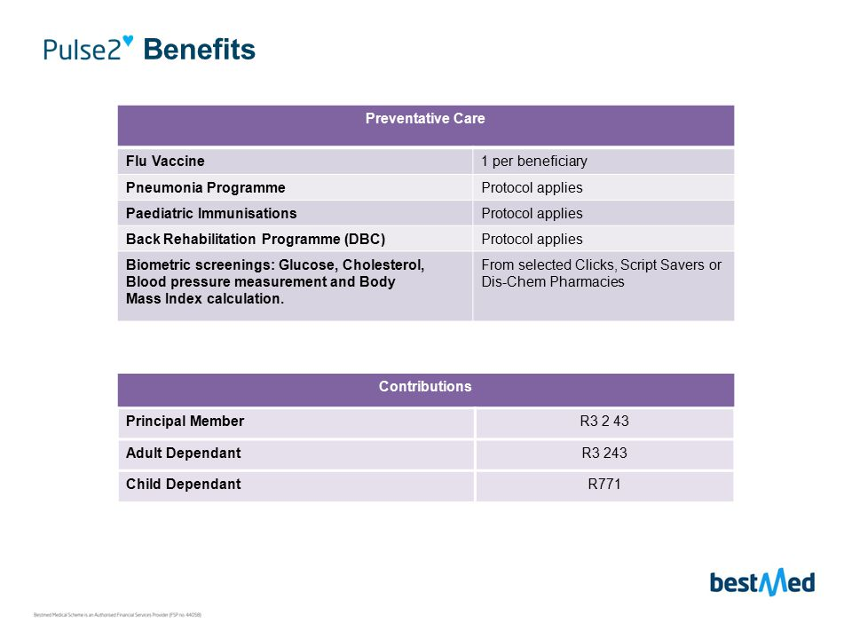 Benefits Preventative Care Flu Vaccine1 per beneficiary Pneumonia ProgrammeProtocol applies Paediatric ImmunisationsProtocol applies Back Rehabilitation Programme (DBC)Protocol applies Biometric screenings: Glucose, Cholesterol, Blood pressure measurement and Body Mass Index calculation.
