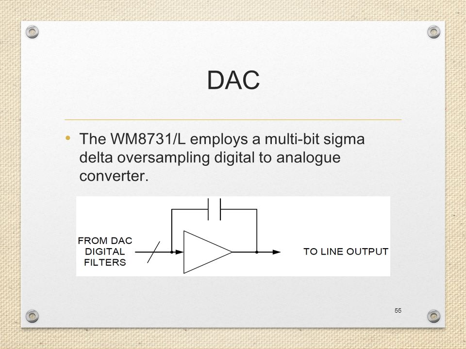 DAC The WM8731/L employs a multi-bit sigma delta oversampling digital to analogue converter. 55