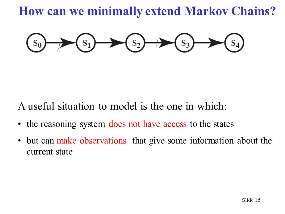 How can we minimally extend Markov Chains? A useful situation to model is the one in which: the reasoning system does not have access to the states bu