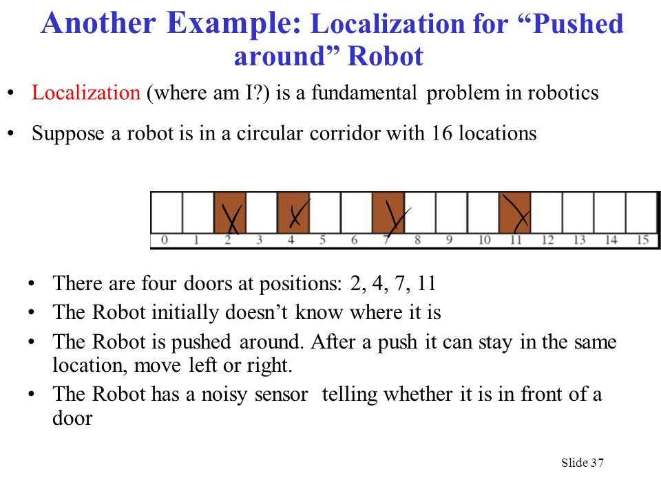 """Slide 37 Another Example: Localization for """"Pushed around"""" Robot Localization (where am I?) is a fundamental problem in robotics Suppose a robot is in"""