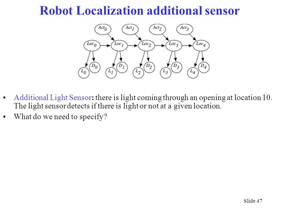 Slide 47 Robot Localization additional sensor Additional Light Sensor: there is light coming through an opening at location 10. The light sensor detec