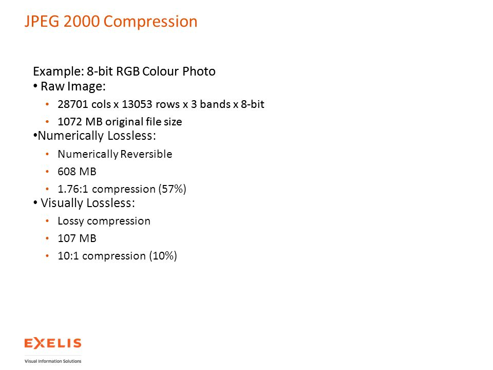 JPEG 2000 Compression Example: 8-bit RGB Colour Photo Raw Image: 28701 cols x 13053 rows x 3 bands x 8-bit 1072 MB original file size Numerically Loss