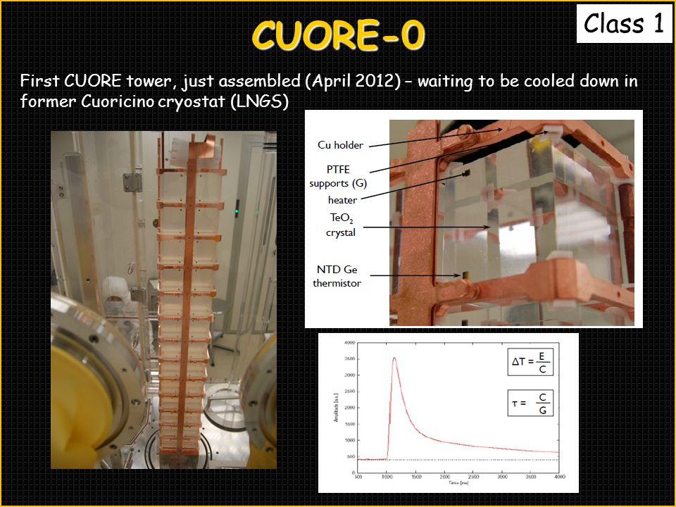 CUORE-0 First CUORE tower, just assembled (April 2012) – waiting to be cooled down in former Cuoricino cryostat (LNGS)