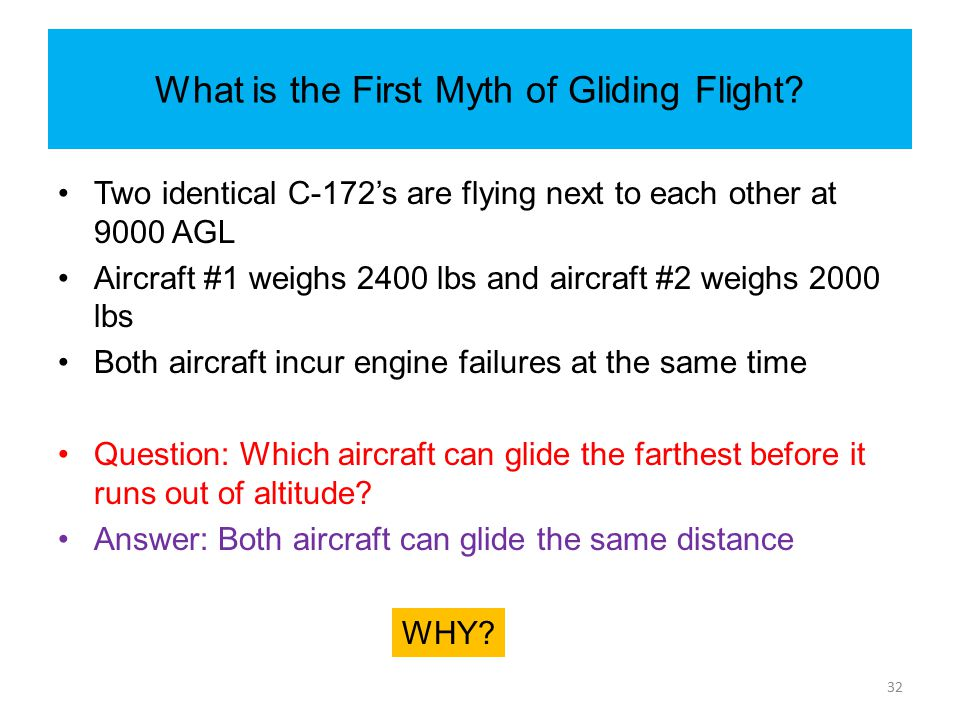 What is the First Myth of Gliding Flight? Two identical C-172's are flying next to each other at 9000 AGL Aircraft #1 weighs 2400 lbs and aircraft #2