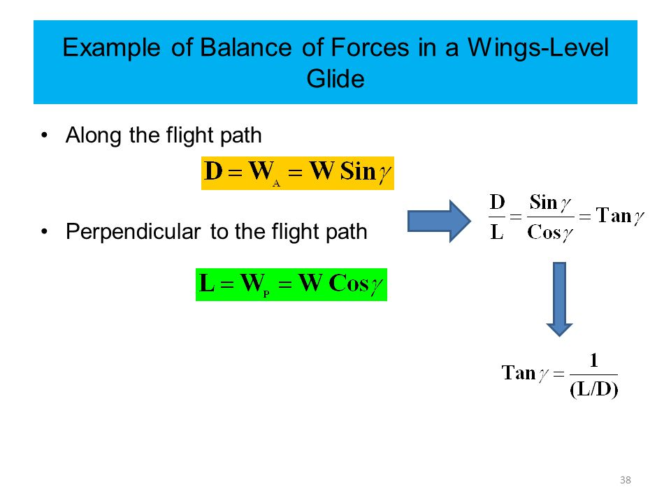 Example of Balance of Forces in a Wings-Level Glide Along the flight path Perpendicular to the flight path 38