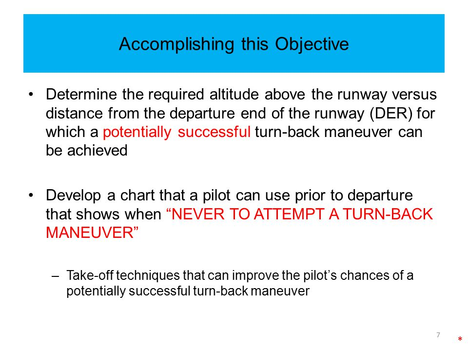 Accomplishing this Objective Determine the required altitude above the runway versus distance from the departure end of the runway (DER) for which a p