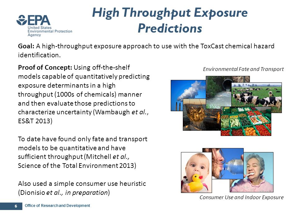 Office of Research and Development 27 The Tox21 Chemicals Exposure Forecast (mg/kg bW/day) 10 -3 10 -5 10 -7 Wang et al.