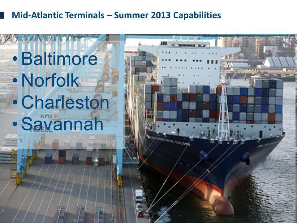 Mid-Atlantic Terminals – Summer 2013 Capabilities Baltimore Norfolk Charleston Savannah