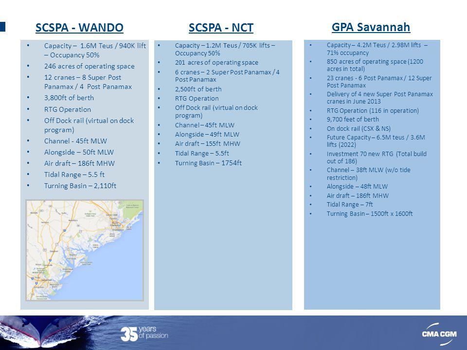 SCSPA - WANDO Capacity – 1.6M Teus / 940K lift – Occupancy 50% 246 acres of operating space 12 cranes – 8 Super Post Panamax / 4 Post Panamax 3,800ft