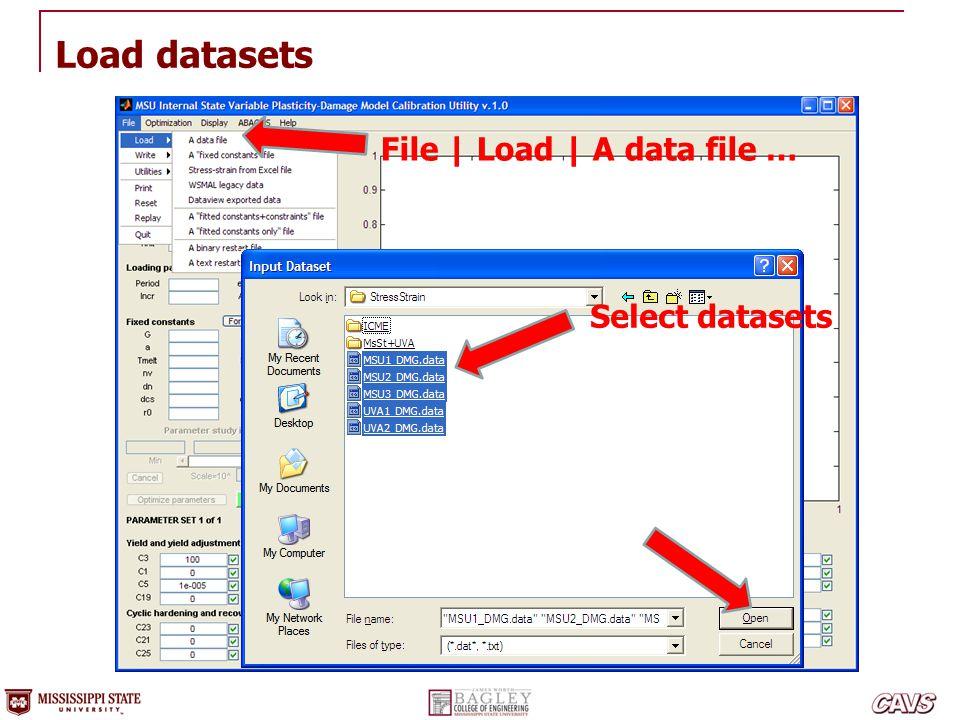 File | Load | A data file … Load datasets Select datasets