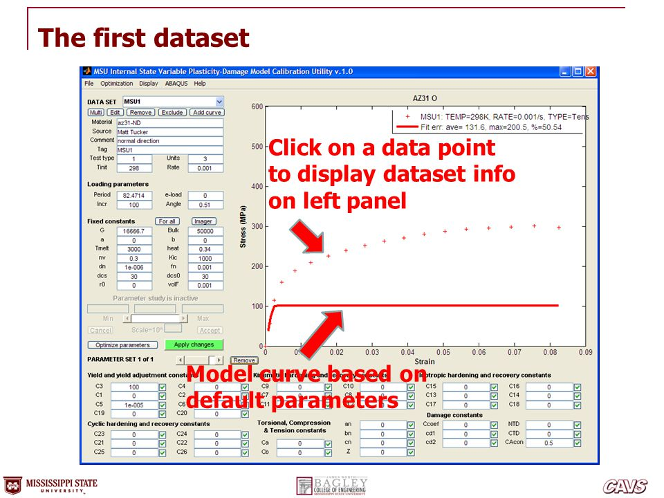 The first dataset Click on a data point to display dataset info on left panel Model curve based on default parameters