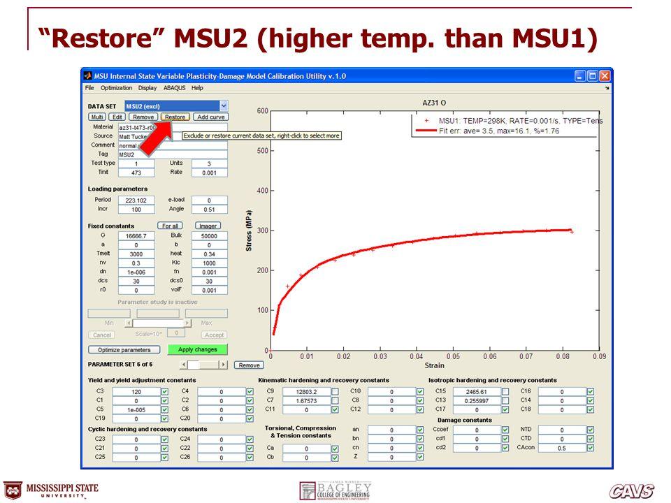 """""""Restore"""" MSU2 (higher temp. than MSU1)"""