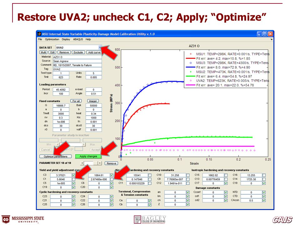 "Restore UVA2; uncheck C1, C2; Apply; ""Optimize"""
