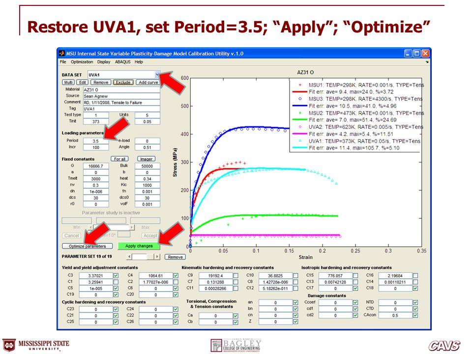 """Restore UVA1, set Period=3.5; """"Apply""""; """"Optimize"""""""