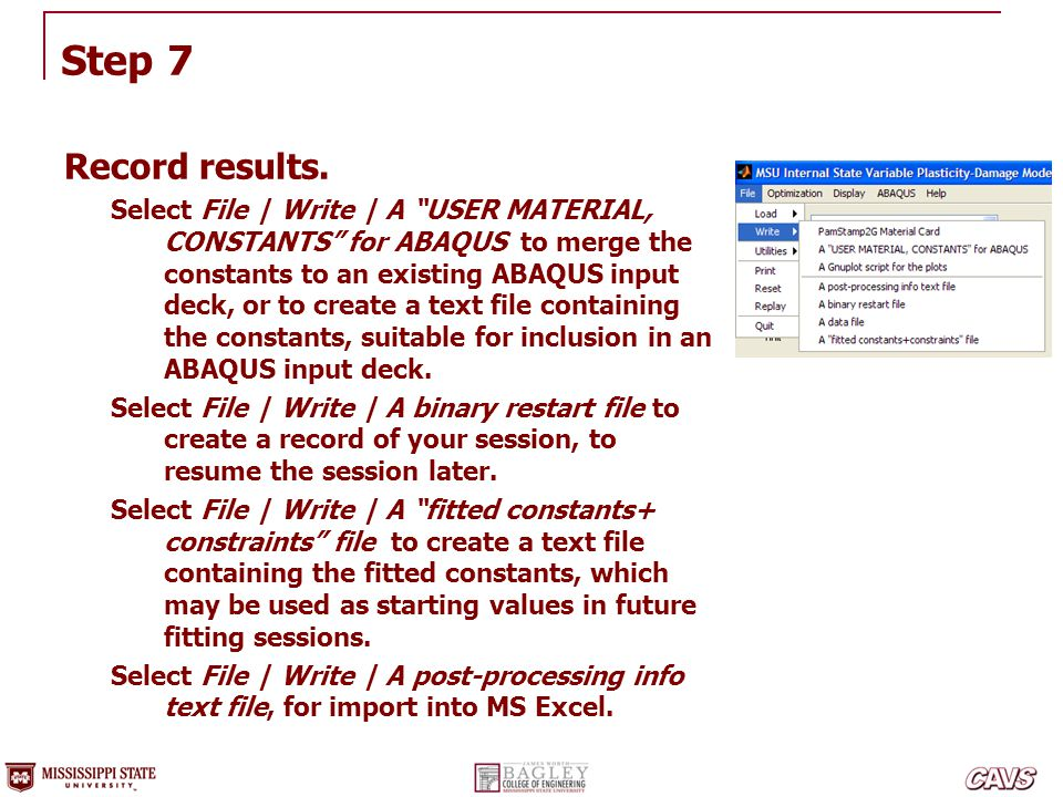 """Step 7 Record results. Select File 