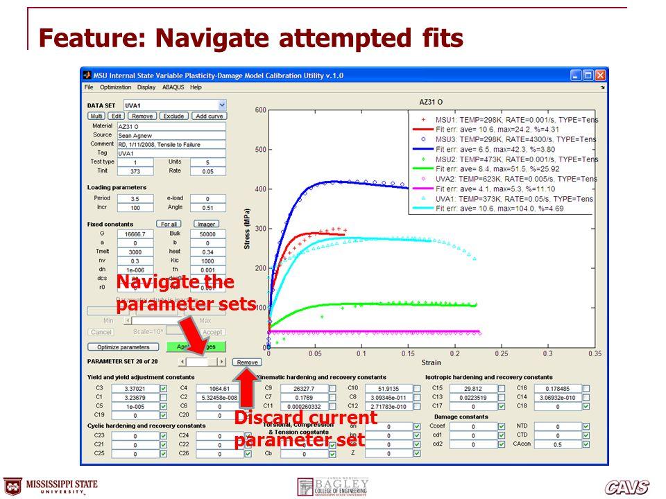 Feature: Navigate attempted fits Discard current parameter set Navigate the parameter sets