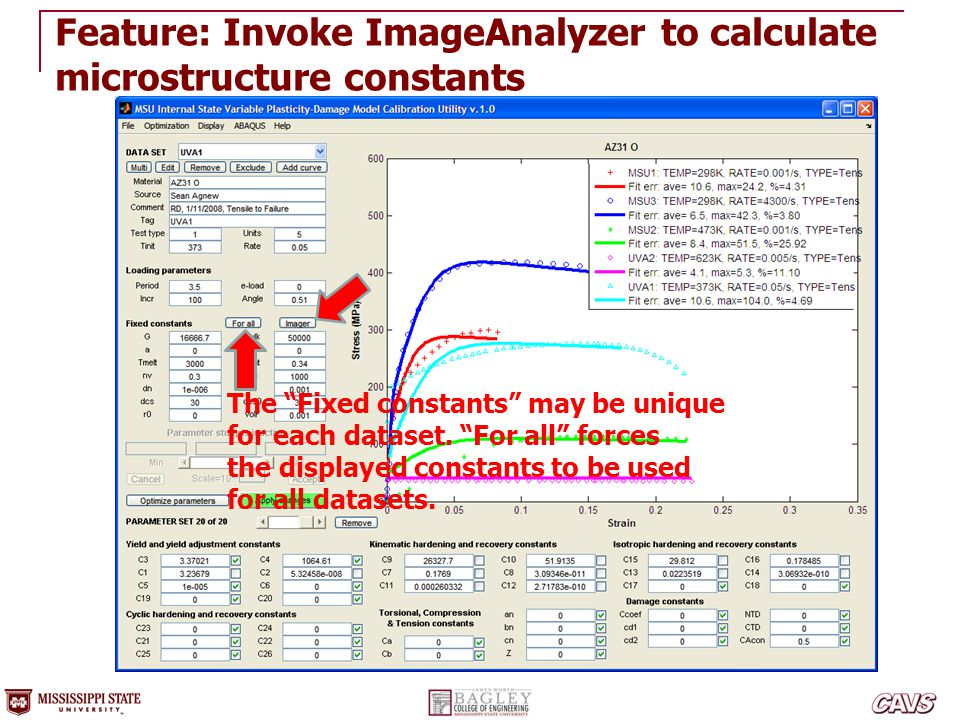 """Feature: Invoke ImageAnalyzer to calculate microstructure constants The """"Fixed constants"""" may be unique for each dataset. """"For all"""" forces the display"""