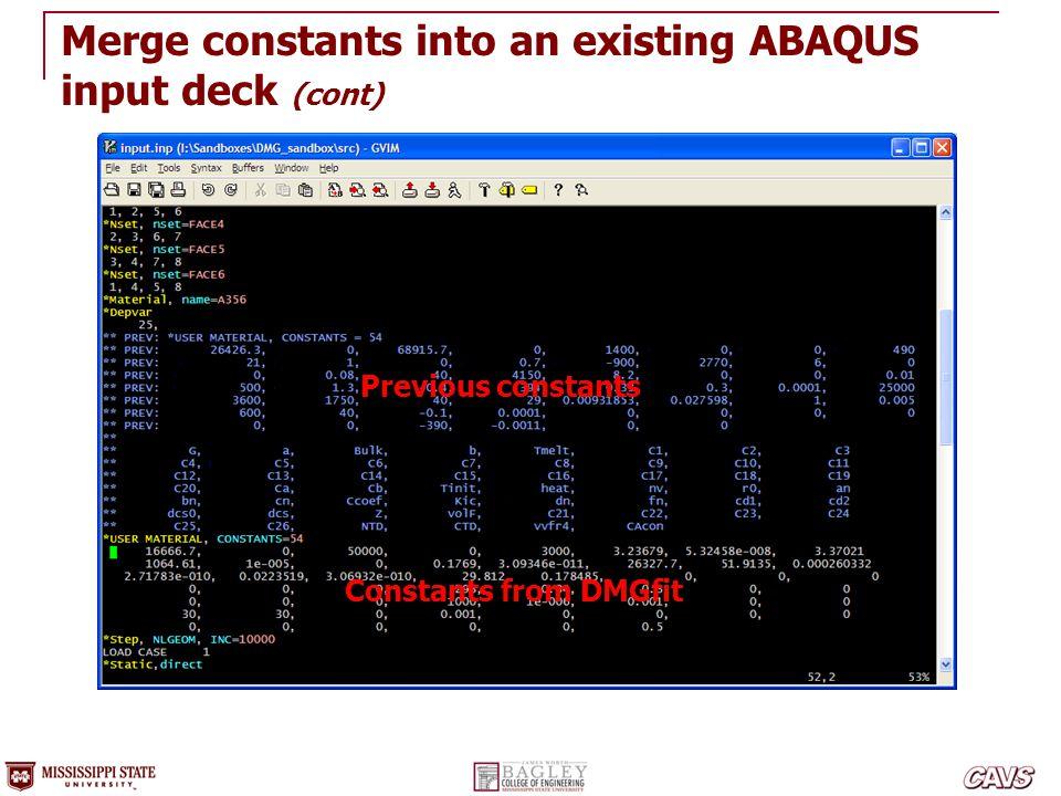 Constants from DMGfit Previous constants