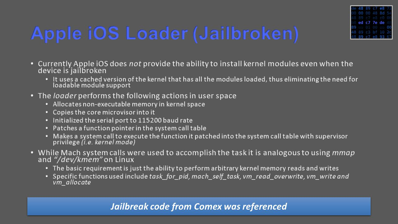 Jailbreak code from Comex was referenced