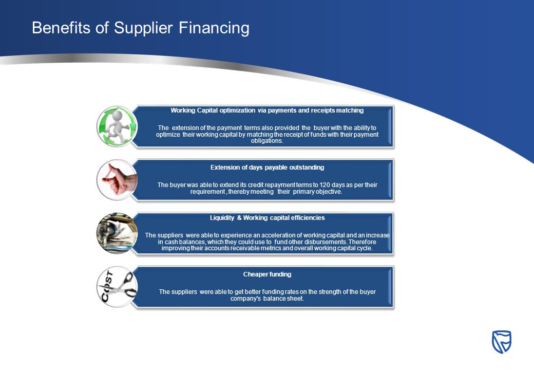 Benefits of Supplier Financing Working Capital optimization via payments and receipts matching The extension of the payment terms also provided the buyer with the ability to optimize their working capital by matching the receipt of funds with their payment obligations.