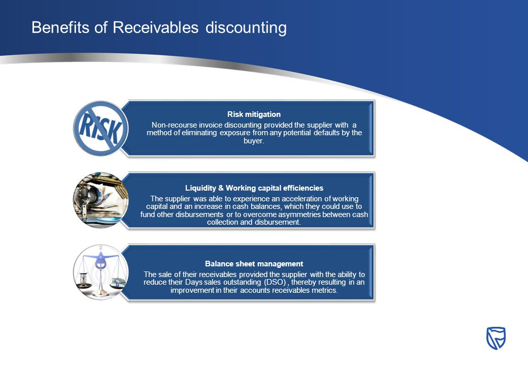 Benefits of Receivables discounting Risk mitigation Non-recourse invoice discounting provided the supplier with a method of eliminating exposure from any potential defaults by the buyer.