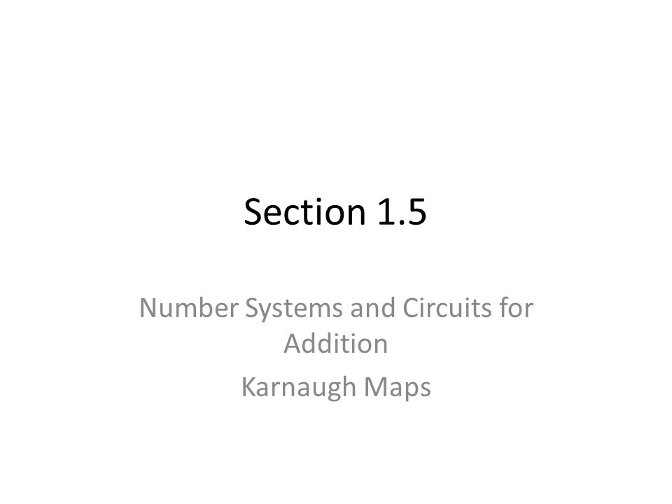 Section 1.5 Number Systems and Circuits for Addition Karnaugh Maps