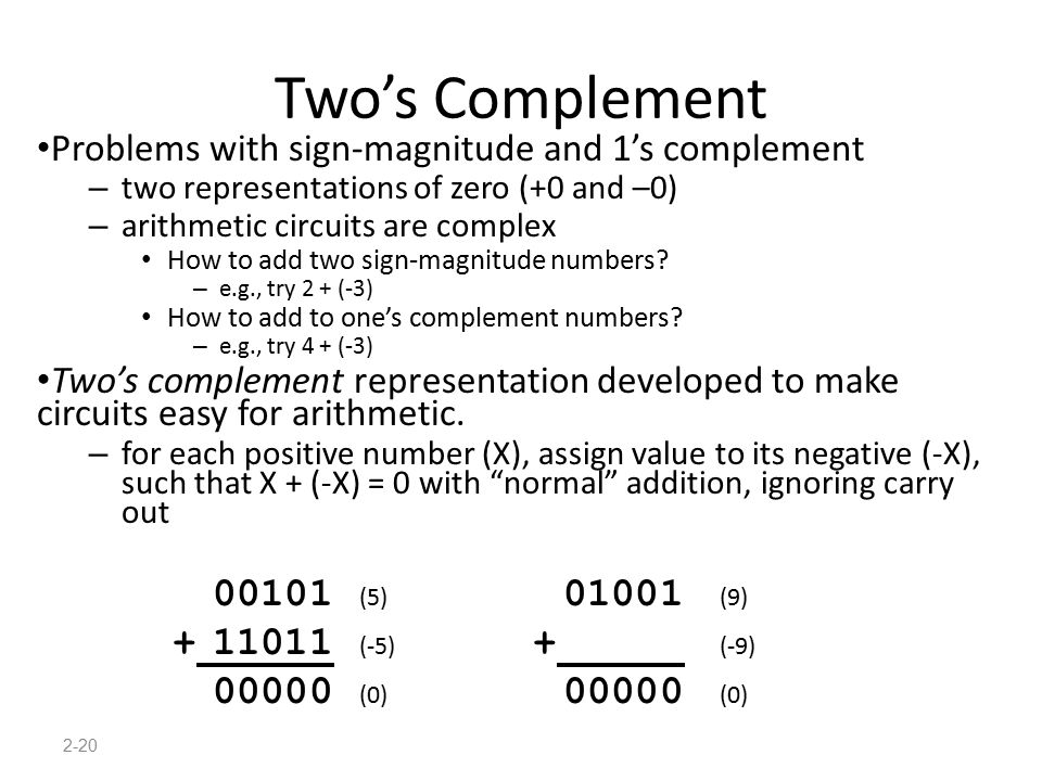 2-20 Two's Complement Problems with sign-magnitude and 1's complement – two representations of zero (+0 and –0) – arithmetic circuits are complex How