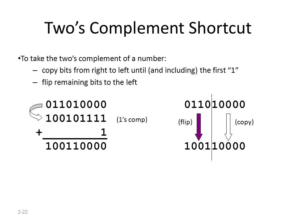 "2-22 Two's Complement Shortcut To take the two's complement of a number: – copy bits from right to left until (and including) the first ""1"" – flip rem"
