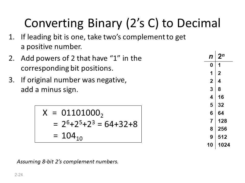 "2-24 Converting Binary (2's C) to Decimal 1.If leading bit is one, take two's complement to get a positive number. 2.Add powers of 2 that have ""1"" in"