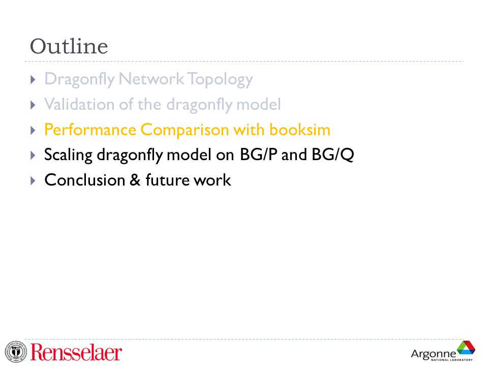 Outline  Dragonfly Network Topology  Validation of the dragonfly model  Performance Comparison with booksim  Scaling dragonfly model on BG/P and BG/Q  Conclusion & future work