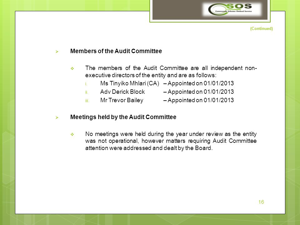 (Continued)  Members of the Audit Committee  The members of the Audit Committee are all independent non- executive directors of the entity and are as follows: i.