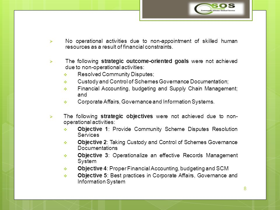  No operational activities due to non-appointment of skilled human resources as a result of financial constraints.