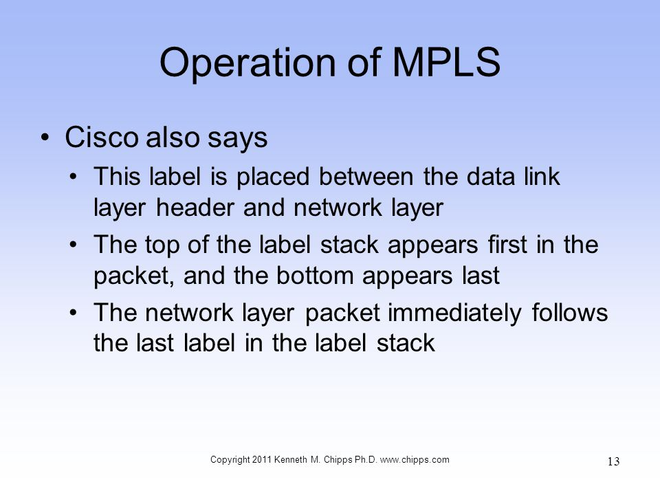 Operation of MPLS Cisco also says This label is placed between the data link layer header and network layer The top of the label stack appears first i