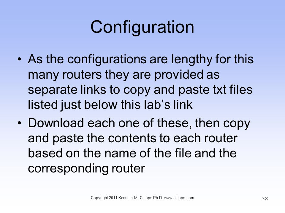 Configuration As the configurations are lengthy for this many routers they are provided as separate links to copy and paste txt files listed just belo