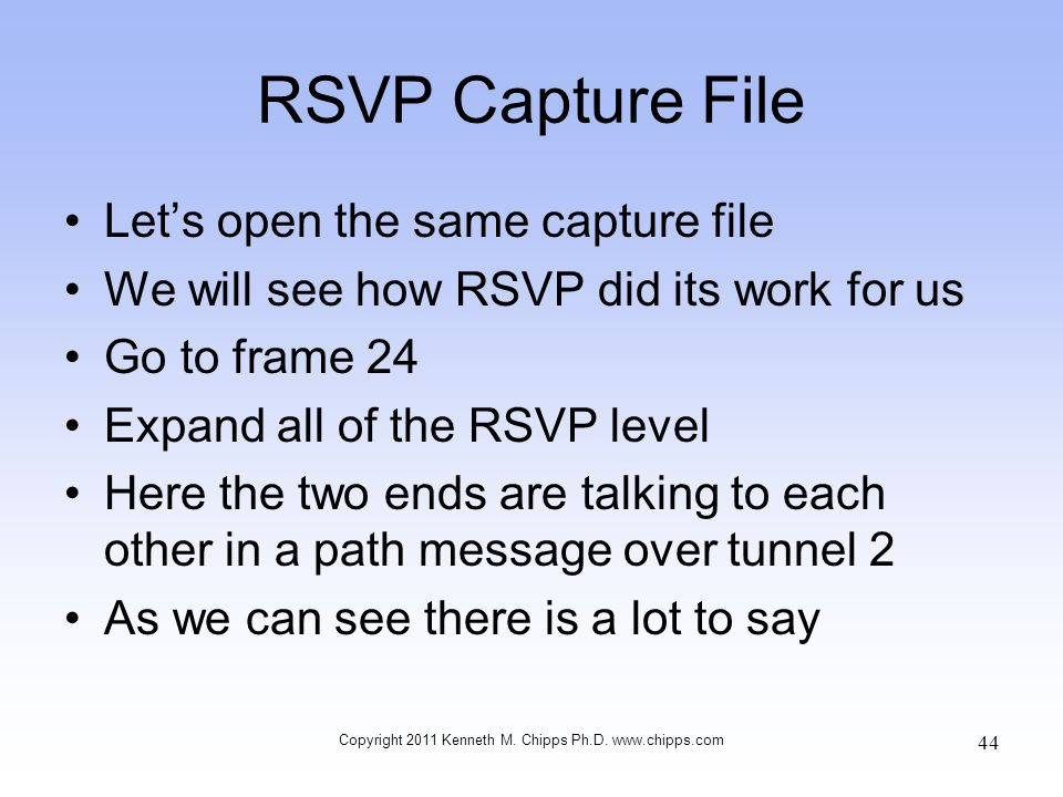 RSVP Capture File Let's open the same capture file We will see how RSVP did its work for us Go to frame 24 Expand all of the RSVP level Here the two e